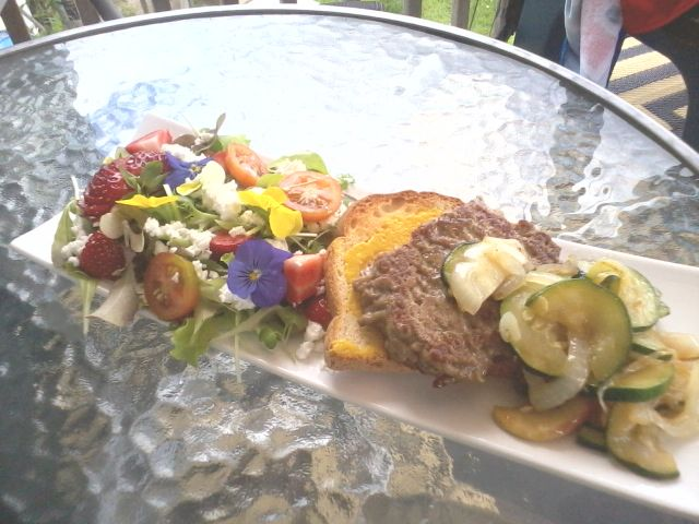 grilled Zuccs and onions, Ground Lamb, with mustard toast, light salad, with goat fets, tomatoes, strawberries, flowers <3