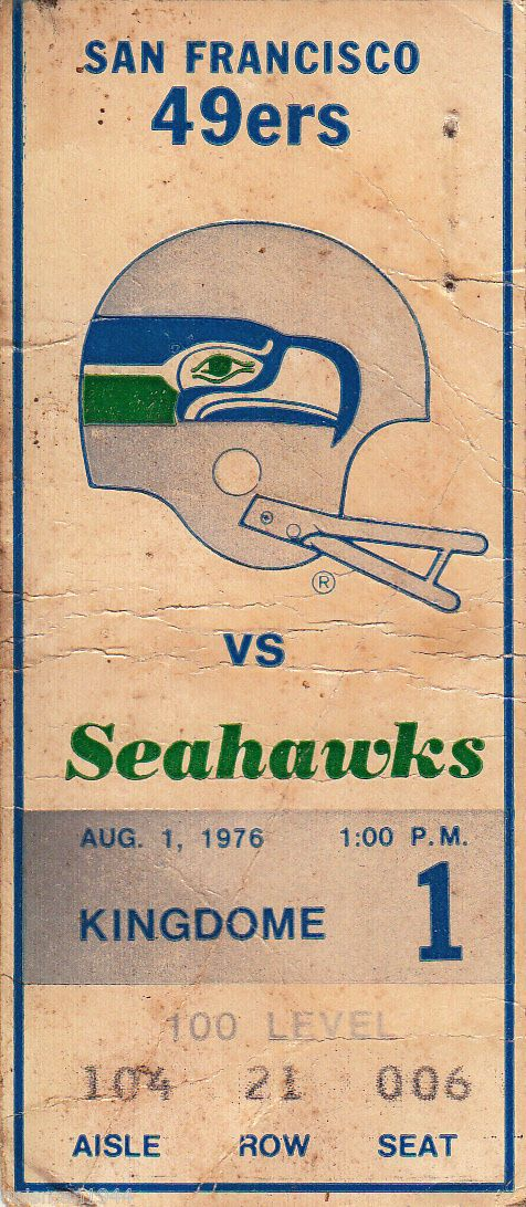 1976 49ers Seahawks Ticket Stub 1st Game in Franchise History Very Tough | eBay