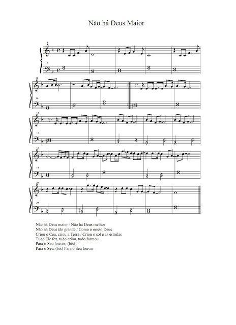 Partituras Musicais: Não há Deus Maior - n.º 335