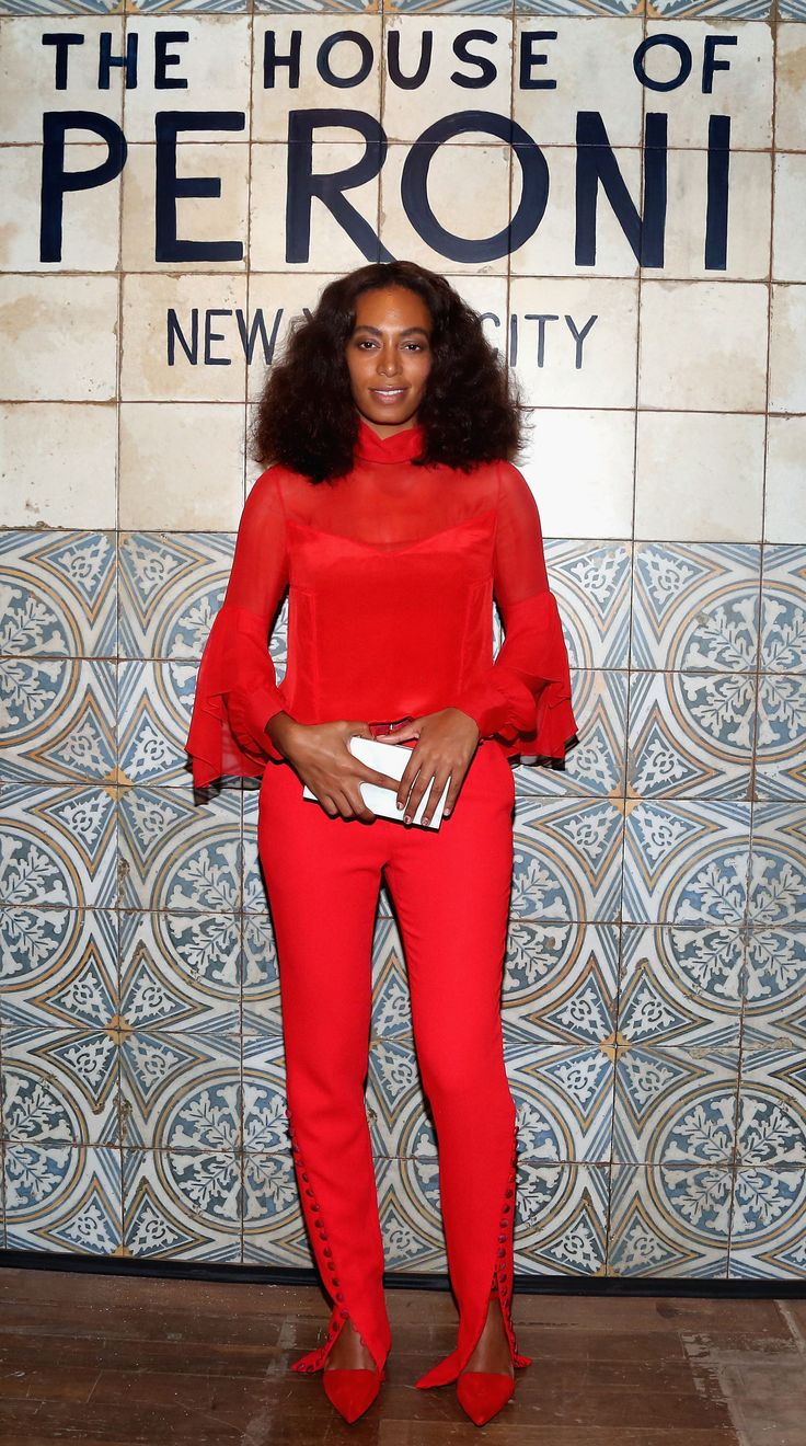 olange Knowles's House Of Peroni Prabal Gurung Fall 2016 Red Silk Chiffon High Collar Blouse And Waistband Button Detail Trousers via fashionbombdaily.com