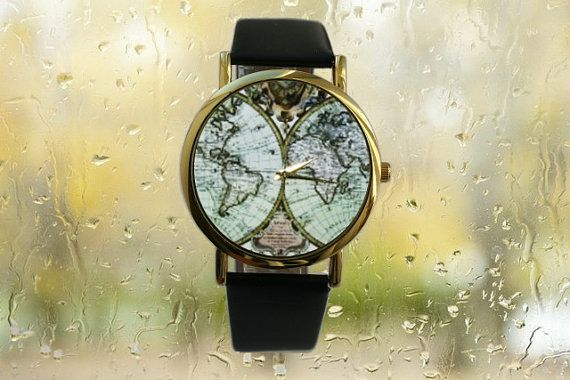 Men's Watch Christmas gift antique Map Leather by SovietCrimea