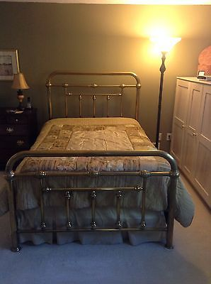 Full Size Antique Solid Brass Bed W Interlocking Cast Iron