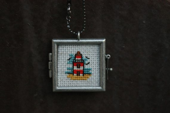 Lighthouse Cross Stitch Necklace by RagingStitches on Etsy, $25.00