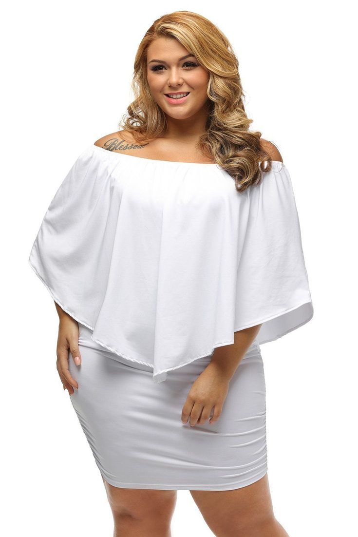 Plus Size Multiple Dressing Layered White Mini Dress #PlusSizeDressesWhite