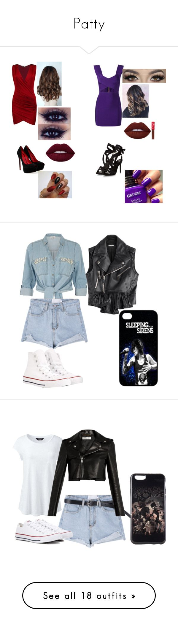 """Patty"" by elena-horror999 ❤ liked on Polyvore featuring Boohoo, Cesare Paciotti, Balmain, Lime Crime, River Island, Dsquared2, Converse, Lands' End, Yves Saint Laurent and Hot Topic"