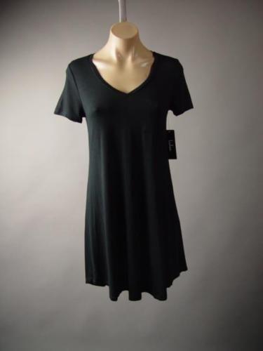 Lulus-Black-V-neck-Tee-Jersey-Casual-Minimalist-Basic-T-Shirt-246-mv-Dress-M