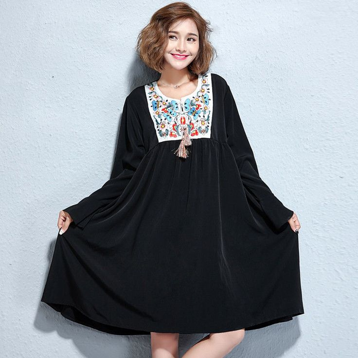 Plus Size Autumn Women's Embroidery Neck Loose Style Dress Fit 130-170 Pounds