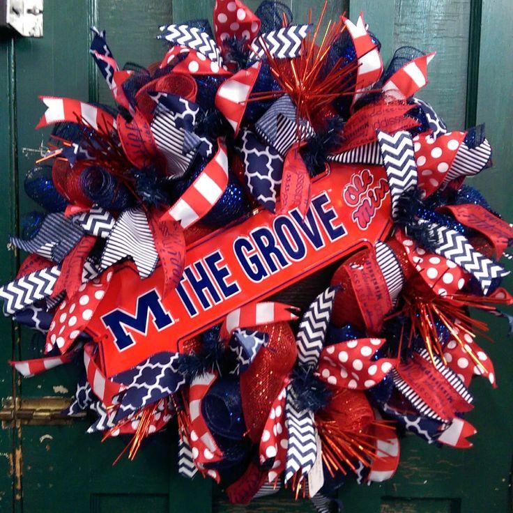 Ole Miss Wreath University of Mississippi Wreath Ole Miss Football Wreath Rebels Football Wreath Rebels Wreath The Grove Wreath by WhimsyWreathsDesigns on Etsy