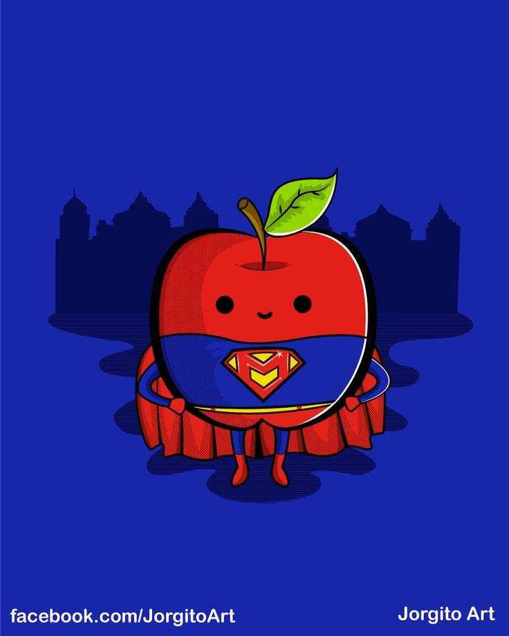 Supermanzana #Diseñosparacamisetas #facebook.com/Jorgitoart