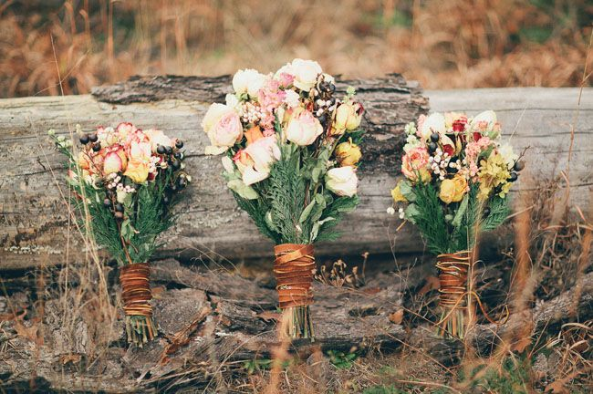 Leather-wrapped bouquets | Angel Inspired Wedding | Green Wedding Shoes Wedding Blog