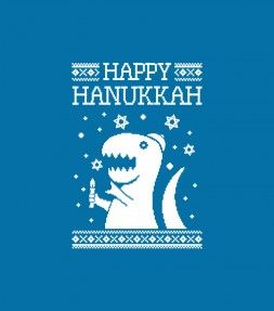 "Happy Hanukkah Funny Jewish ""Ugly Holiday"" T-Rex Shirt! NOW ON SALE! Free Shipping Code:   ship4free  Get it now > http://www.israeli-t.com/category/48-jewish-hanukkah-chanuka-shirts?utm_source=Pinterest&utm_medium=m01_Hanukkah_2015_Sale&utm_campaign=israeli_T"