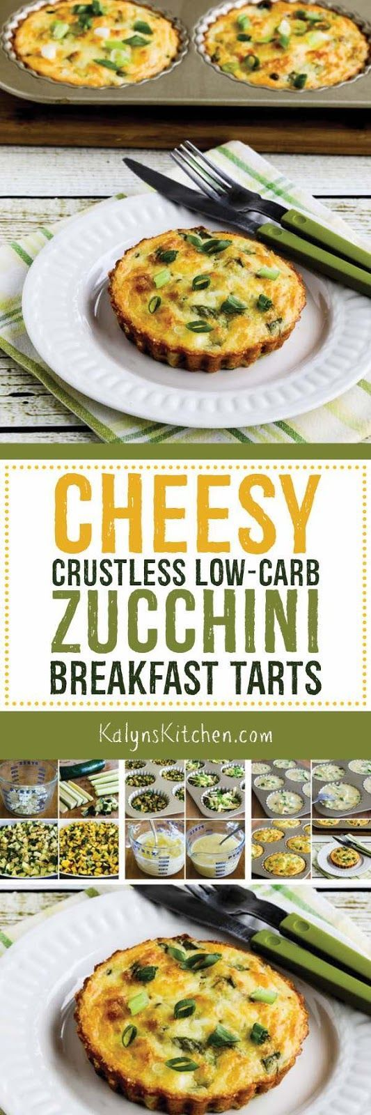 If you're getting buried in zucchini, these Cheesy Crustless Low-Carb Zucchini Breakfast Tarts are a delicious way to use it! And these tasty breakfast tarts are also Keto, low-glycemic, gluten-free, and meatless, and with the right ingredient choices they can be South Beach Diet friendly. [found on KalynsKitchen.com]