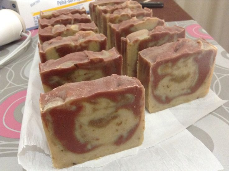 Olive and coconut oil soap with pink and white clay