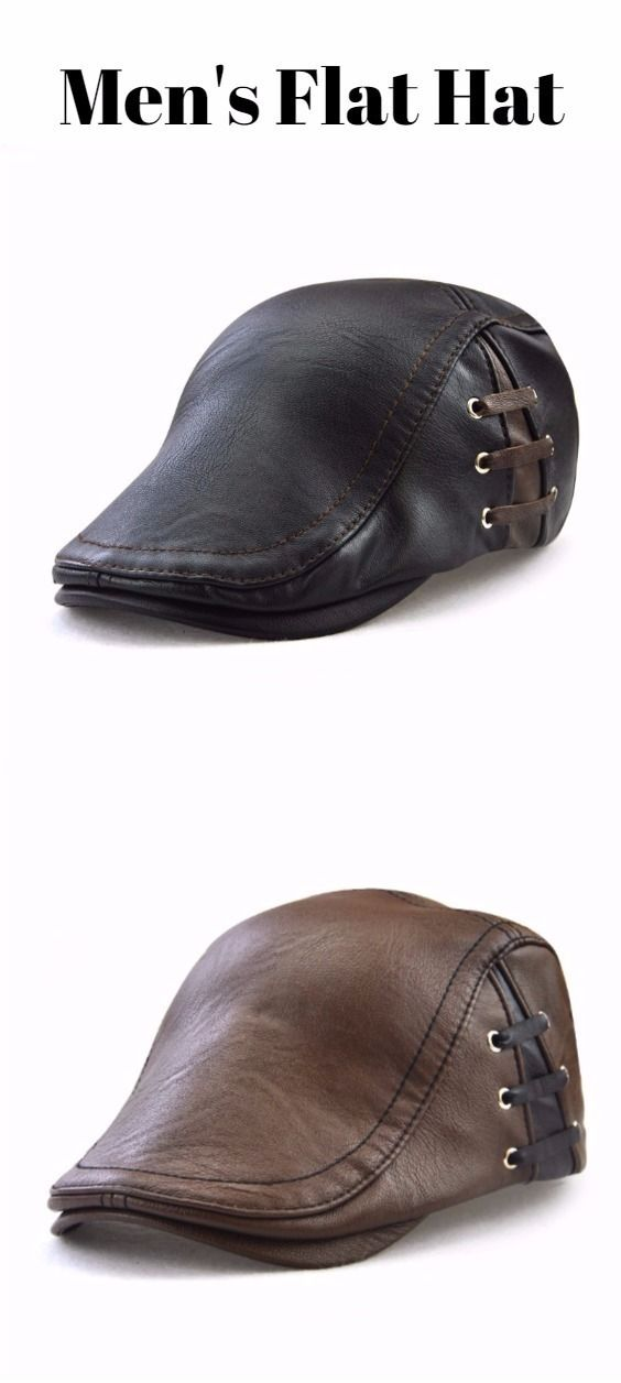 Lace Up Design Faux Leather Flat Hat