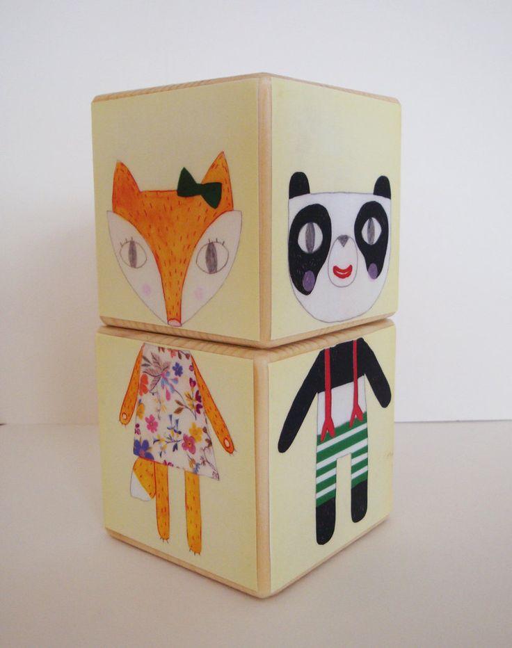 Wooden Blocks - animal mix and match.