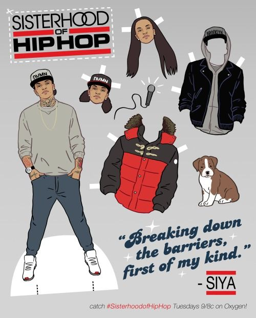 """SISTERHOOD of HIP HOP Paper Doll featuring hip hop awesome artist SIYA   Kyle Hilton's infamous paper doll illustration style earned him a serial commission from Oxygen TV, to promote their new show, """"Sisterhood of Hip Hop""""."""