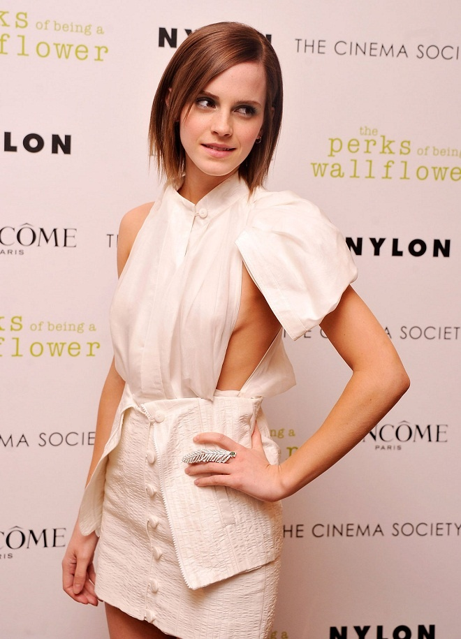 Emma Watson shows off skin in a white dress at The Perks of Being A Wallflower New York screening