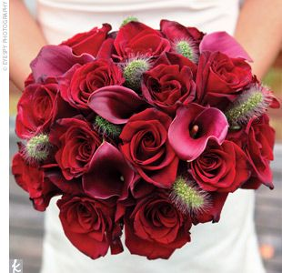 Red roses with red calla lilies- pretty