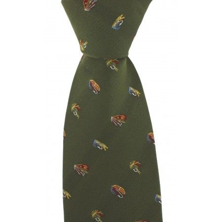 Green Luxury Silk Tie With Fly Fishing Hook Design - £19.50