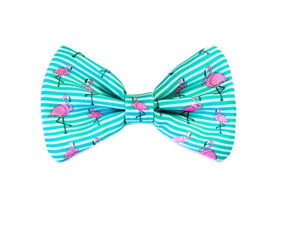 flamingo Dog Bow Tie / Cat Bow Tie / Velcro Bow Tie / Collar Bow Tie /