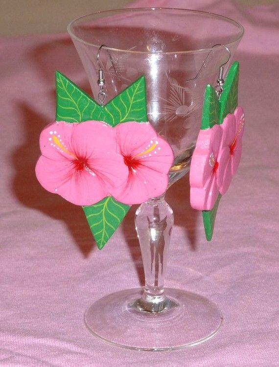 Vintage Hibiscus Handmade Drop Earings by SouthamptonCreations, $4.00