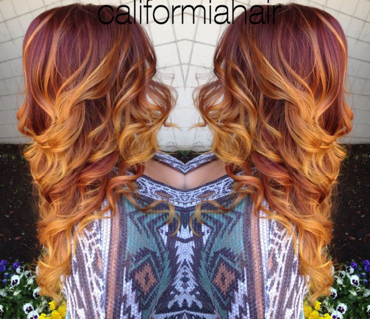The 25 best red hair yellow highlights ideas on pinterest ombre red hair with balyage highlights of an orange and yellow melt to her pmusecretfo Image collections