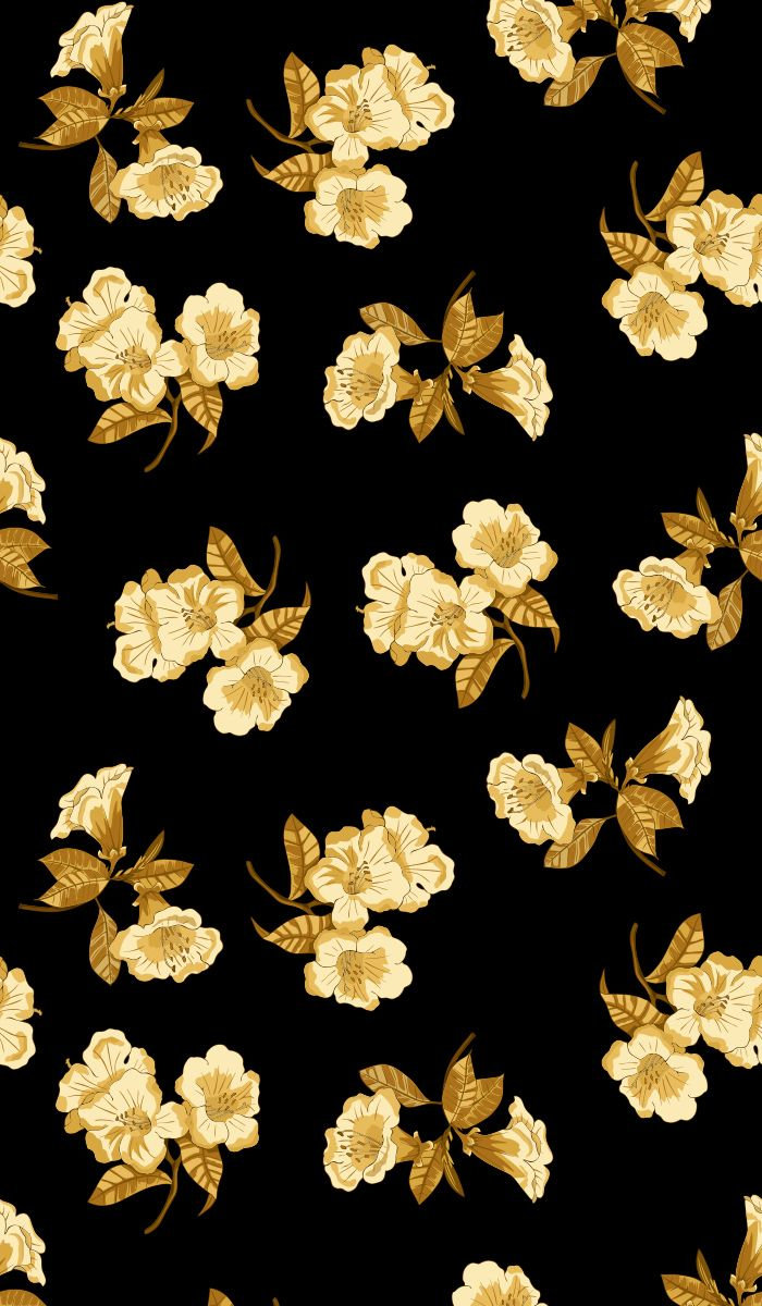 Gold Flowers On A Black Background Seamless Vector Pattern For Fabric Wallpaper Wrapping Paper In 2020 Black Backgrounds Floral Drawing Pattern