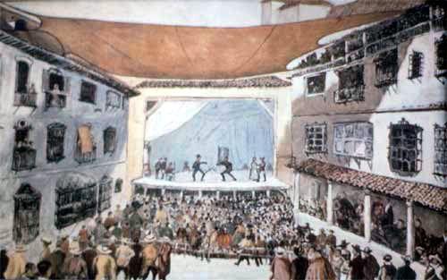 Ilustración de una representación en un corral de comedias - Siglo de oro español #teatro