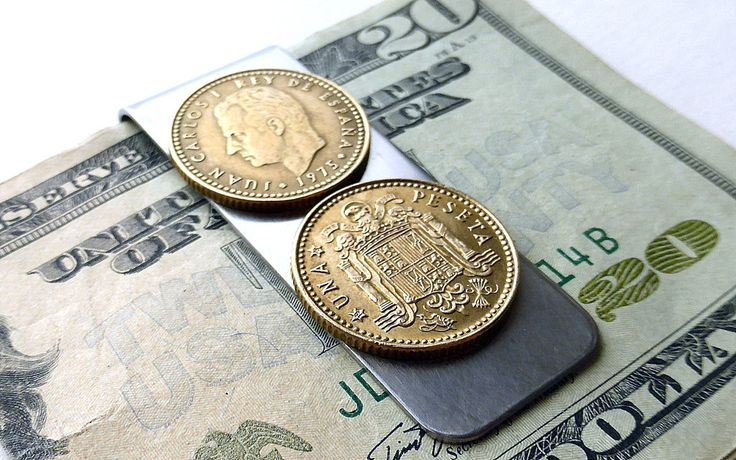 Coin money clip, Spanish, Men's gifts, Money clip, Coins, Men's wallet, Men's accessory, Gift for him, Coin clip, Vintage coins, Clip, 1975 by CoinStories on Etsy