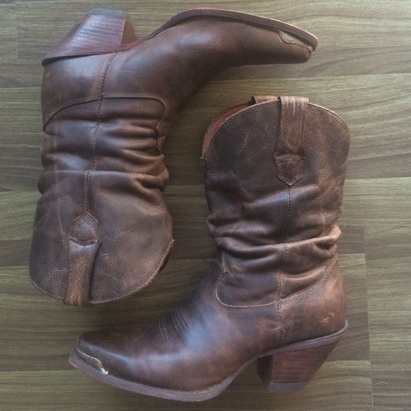 """Durango brand leather slouch cowboy boots size 8 Brown leather slouch cowboy boots by durango in size 8. """" women's 10in western"""". Purchased in Nashville!  Some scuffs on the heels but other than that in great condition. Durango Shoes Ankle Boots & Booties"""