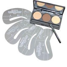 1 conjuntos cuidados com o rosto maquiagem sobrancelha sombra em pó paleta cosméticos sobrancelha Enhancer com 4 sobrancelha Shaping Stencils ferramentas de maquiagem alishoppbrasil