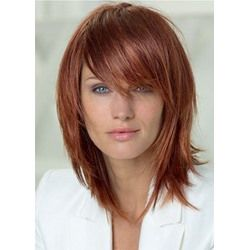 Natural Straight Women's Layered Hairstyle Medium Length Synthetic Hair Lace Front Wigs 16Inch
