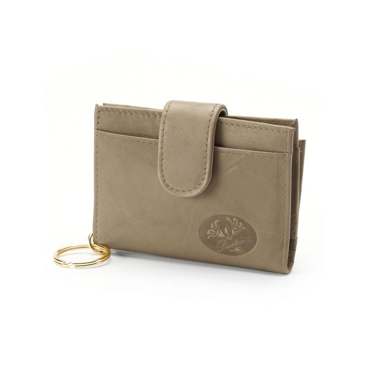 Buxton Heiress Pik-Me-Up Floral Embossed Leather Tab Card Case, Women's, Lt Brown