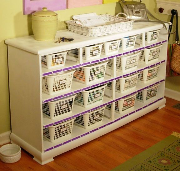 Transform a thrift store dresser into a shelving unit! This would be wonderful for organizing crafts or home-school items.