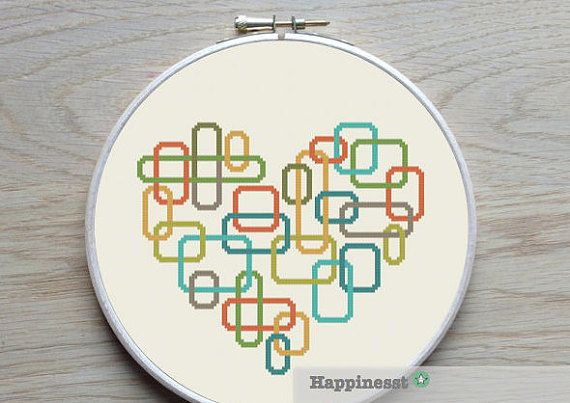 geometric modern cross stitch pattern heart, retro blocks, PDF pattern…