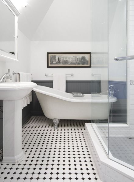 Victorian tile flooring and grey backing.