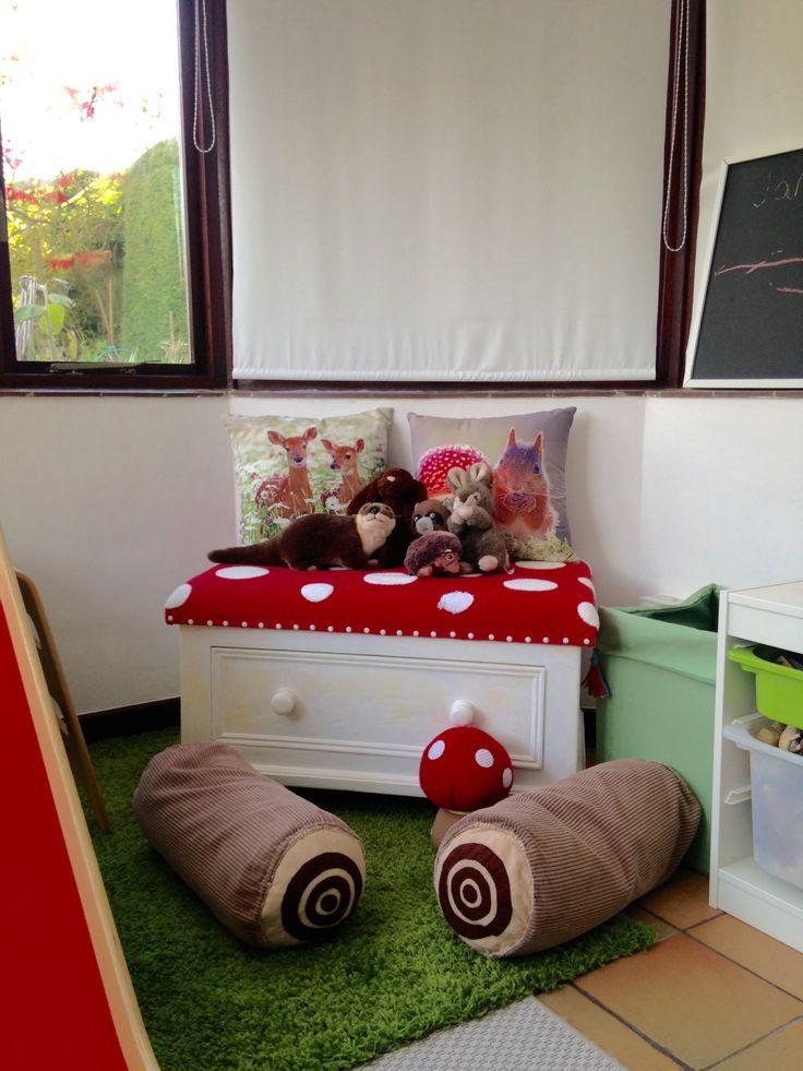 Children S Playroom Woodland Theme Indoor Slide Diy Log