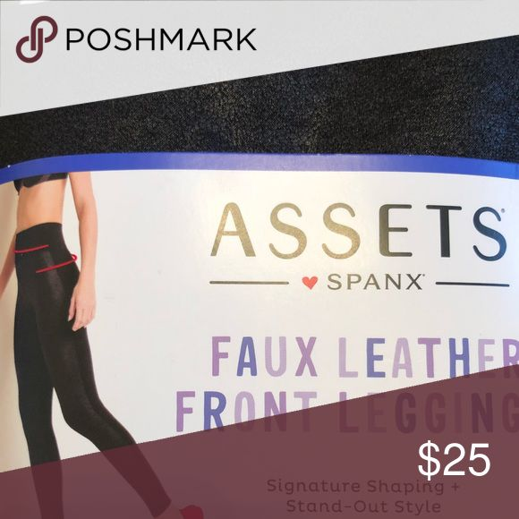 NWT assets by spanx faux leather front leggings NWT assets by spanx leggings faux leather front super slimming Assets By Spanx Pants Leggings