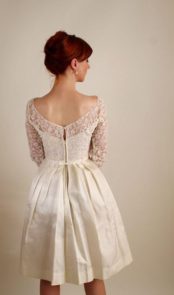 1960s Cream Lace Short Wedding Dress Mad Men by gogovintage, $120.00