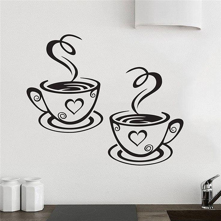 Baru Kedatangan Indah Desain Cangkir Kopi Cafe Teh Dinding Stiker Art Vinyl Decal Kitchen Restaurant Pub Decor
