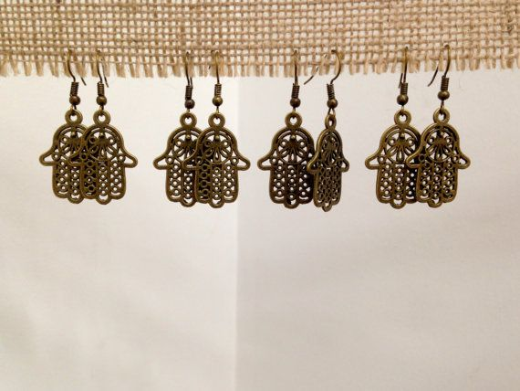 Hamza Hand Bronze Earrings by SCBoutique123 on Etsy