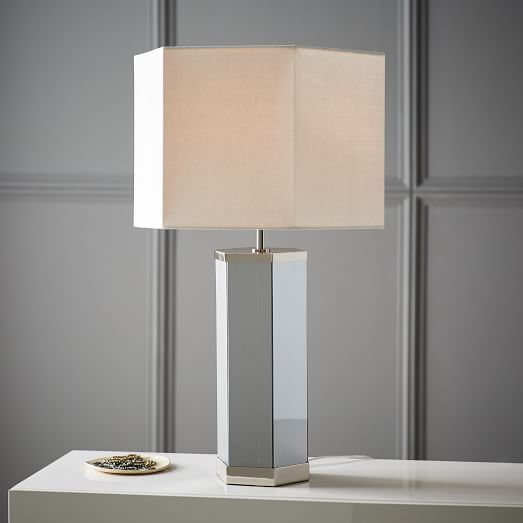 Latest Shape up your space with our Geo Glass Table Lamp Featuring our unique luster glass finish its glass base has a mirrored effect when the lamp is off In 2019 - Model Of mirrored table lamp Photos