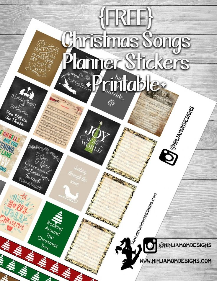 {FREE} Christmas Songs Planner Sticker Printable