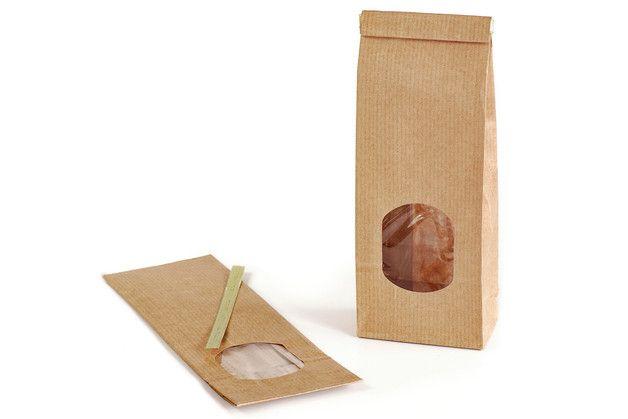 10 braune, unbedruckte Papiertüten mit Sichtfenster und Boden in braun Natron für ca. 100 g Füllmenge Die praktischen Blockbodenbeutel sind gefüttert mit einer fettabweisenden, transparenten...