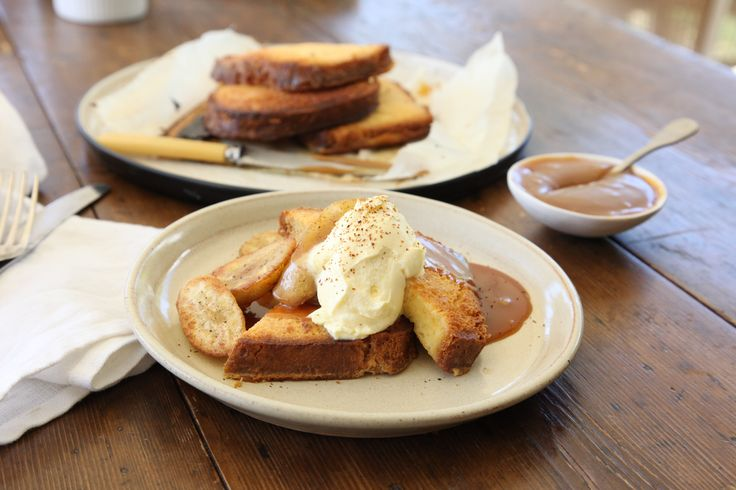 Brioche French Toast with Salted Brandy Caramel and Bananas - Maggie Beer