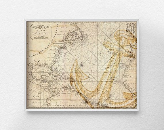 Nautical Map Art Nautical Poster Nautical by LotusLeafCreations