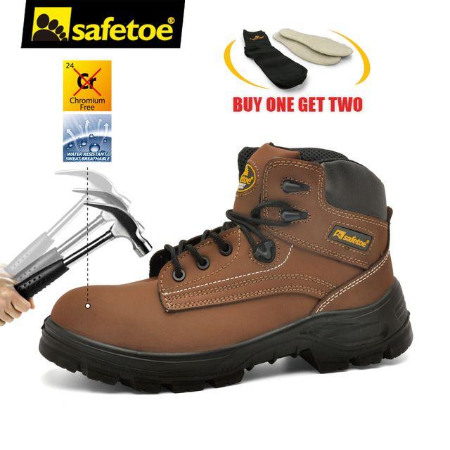 safetoe Safety Shoes Work Boots Men Steel Toe Cap Leather UK Size 2-13 Anti-smashing PU/PU Dual Density Breathable S3 SRC