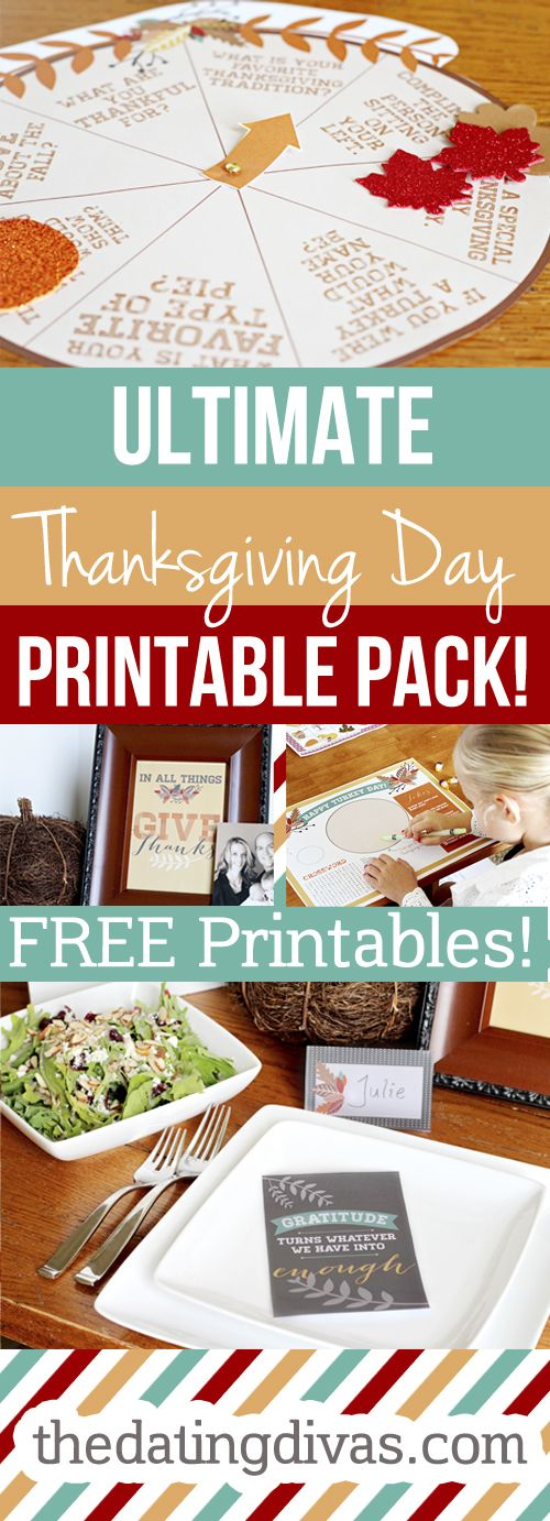 Perfect, printable placemats for the kiddos, a game, and a menu plan for Thanksgiving day. www.TheDatingDivas.com