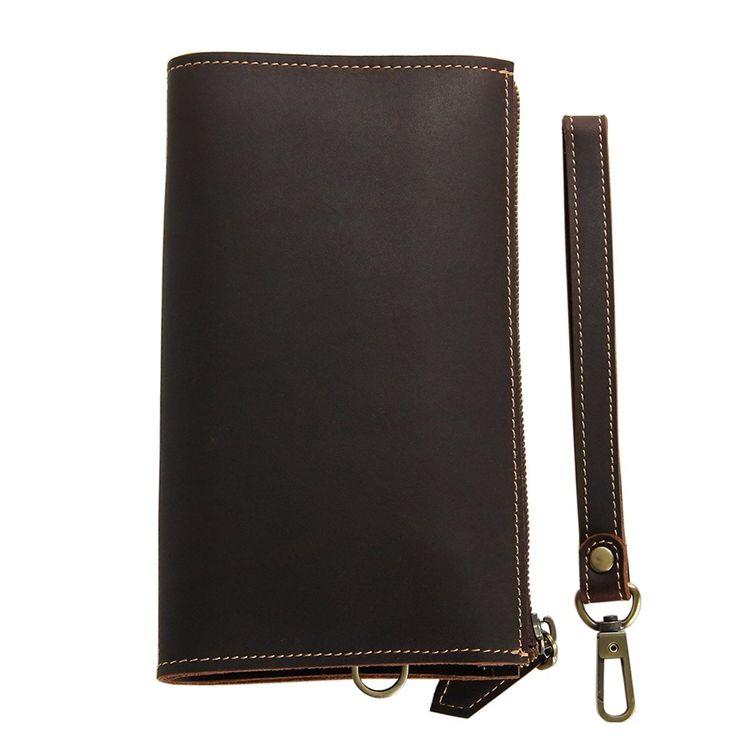 Genuine Leather Handmade Long Bifold Wallet Organizer Checkbook Card Case Long Slim Wallet at Amazon Men's Clothing store: