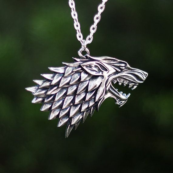 Game of thrones house STARK necklace, arya, jonh snow, pendant, jewlery, gift for GoT fans, wolf head, Song of Ice and Fire George Martin